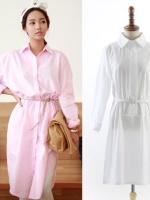 ++สินค้าพร้อมส่งค่ะ++ เสื้อแฟชั่นเกาหลี คอปก แขนยาว ผ้าฝ้ายเนื้อดี ดีไซด์เท่ห์ แต่งเก๋คู่กับเข็มขัด 1 เส้น มี 3 สีค่ะ – สีขาว