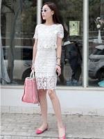 Pre Order ชุดเซ็ทผ้าลูกไม้แฟชั่นเกาหลี เสื้อ+กระโปรงแต่งลายลูกไม้ ดีไซน์น่ารัก สไตล์สาวหวาน มี3สี