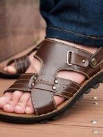 Pre Order รองเท้าแตะผู้ชายแฟชั่นเกาหลี เย็บแต่งลาย มีสายหุ้มเท้า มี2สี