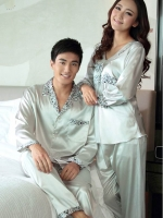 Pre Order ชุดนอนคู่รัก เสื้อผ้าไหมแขนยาว แต่งลายที่คอเสื้อ+กางเกงขายาว สีตามรูป