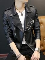 Pre Order เสื้อแจ็คเก็ตหนังผู้ชาย แขนยาว สไตล์เกาหลี คอปก แต่งซิป สีดำ