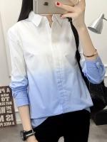 Pre Order เสื้อเชิ้ตสไตล์เกาหลี ทูโทนแขนยาว คอปก ทรงเข้ารูป มี2สี