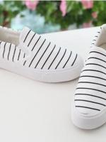 Pre Order รองเท้าผ้าใบดีไซน์เรียบ แนวเกาหลี ลายขวาง เปลือกหนามัฟฟิน มี3สี