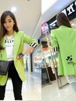++สินค้าพร้อมส่งค่ะ++ เสื้อสูทแฟชั่นเกาหลี คอปก V แขนยาว ผ้าฝ้ายผสมเนื้อดีมากค่ะมีซับใน ดีไซด์เก๋พับแขนเป็นลายทาง สี Fluorescent – สีเขียว
