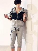 Pre Order ชุดออกกำลังกายเกาหลี เสื้อแจ็คเก็ตแขนสั้น มีHOOD สกรีนลายแต่งสลับสี+กางเกงขาสามส่วน มี3สี