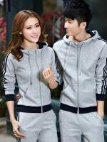 Pre Order ชุดวอร์มสไตล์เกาหลี เสื้อแจ็คเก็ตแขนยาวมี Hood+กางเกงขายาวแถบข้าง มี2สี