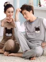 Pre Order ชุดนอนคู่รักแฟชั่นเกาหลี เสื้อคอกลมแขนยาวลายตาราง+กางเกงขายาว สีตามรูป
