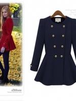 ++สินค้าพร้อมส่งค่++ เสื้อ coat เกาหลี ตัวยาว แขนยตัวยาว แขนยาว คอกลม แต่งกระดุมหน้าคู่ มีซับในอย่างดีค่ะ กระดุมคู่ด้านหน้า – สีน้ำเงิน