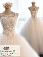 wedding ชุดแต่งงานเจ้าสาวแสนสวย ปักเลื่อมและลูกไม้ เน้นช่วงบน โด่ดเด่น สง่างาม