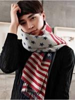 Pre Order ผ้าพันคอผู้ชายแฟชั่น ลายธงชาติ USA คลาสสิก สไตส์เกาหลี มี2สี