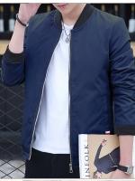 **พร้อมส่ง**เสื้อแจ็คเก็ตผู้ชาย แขนยาว แนวเบสบอล สไตล์เกาหลี สีน้ำเงินเข้ม ไซส์ L