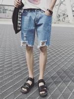 กางเกงยีนส์ขาสั้นเกาหลี แต่งปลายขารุ่ยๆ