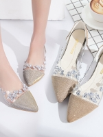 Pre Order รองเท้าผู้หญิงแฟชั่น ดีไซน์ส้นแบน หัวแหลม เพิ่มความน่ารักฟรุ้งฟริ้งด้วยคริสตัล มี 3 สี