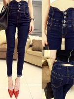 Pre Order กางเกงยีนส์แฟชั่นเกาหลี เอวสูงแต่งกระดุม ดีไซน์สายไขว้ด้านหลัง