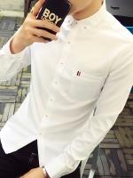 Pre Order เสื้อเชิ้ตผู้ชายสไตล์เกาหลีสุดเท่ห์ แต่งกระดุม แขนยาวคอปก มี4สี