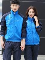 **พร้อมส่ง** ชุดวอร์มเกาหลีแต่งลายเส้น สีน้ำเงิน เสื้อแขนยาว+กางเกงขายาว