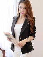 Pre Order เสื้อสูทหญิงเกาหลี แขนยาวคอปก ชายเสื้อแต่งระบาย กระดุมเม็ดเดียว มี3สี