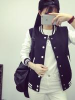 Pre Order เสื้อแจ็คเก็ตแฟชั่นเกาหลี แขนยาวแนวเบสบอล แต่งขอบมีกระดุมหน้า มี4สี