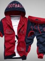 Pre Order ชุดวอร์มเกาหลี เสื้อแจ็คเก็ตแขนสั้นมี HOOD สกรีนลาย+กางเกงขาสามส่วน มี3สี