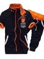 Pre Order ชุดออกกำลังกาย เสื้อแจ็คเก็ตคอปก แต่งลายสุดเท่ห์ มีกระเป๋าข้าง+กางเกงขาสามส่วน มี4สี