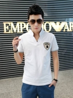 Pre Order เสื้อผู้ชายเกาหลี คอวีแขนสั้น ปักลายโลโก้ LAMBORGHINI มี5สี