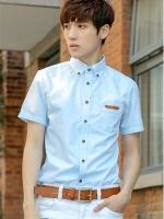 Pre Order เสื้อเชิ้ตผู้ชายเกาหลี แขนสั้นคอปก แต่งขอบหนังที่กระเป๋า แบรนด์ MUT มี2สี