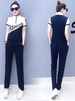 Pre Order ชุดวอร์มแฟชั่นเกาหลี เสื้อแขนสั้นพิมพ์ลายแต่งซิบ+กางเกงขายาว มี5สี