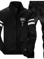 **พร้อมส่ง**ชุดวอร์มแนวสปอร์ต เสื้อแขนยาว คอปก สกรีนลาย HDA+กางเกงขายาว สีดำ ไซส์ 3XL