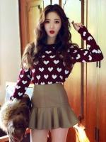 Pre Order เสื้อสเวตเตอร์เกาหลี เสื้อแขนยาวคอกลม ถักทอลายรูปหัวใจ สีตามรูป