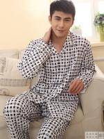 Pre Order ชุดนอนผ้าฝ้ายผู้ชาย เสื้อเชิ้ตแขนยาว+กางเกงขายาว คอปก ลายสี่เหลี่ยมเล็กๆ เนื้อผ้าดี สีตามรูป