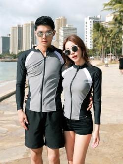 ชุดว่ายน้ำเกาหลี เสื้อแจ็คเก็ตแขนยาว+กางเกงขาสั้น