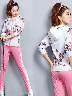 ชุดวอร์มกีฬาเกาหลี เสื้อแจ๊กเก็ตแขนยาวรูดซิปมีฮู้ดพิมพ์ลายดอกไม้+กางเกงขายาวแต่งแถบด้านข้าง