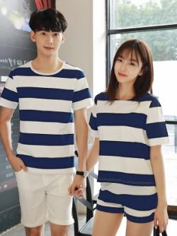 ชุดคู่รักสีน้ำเงินเกาหลี แต่งลายขวาง เสื้อ+กางเกง