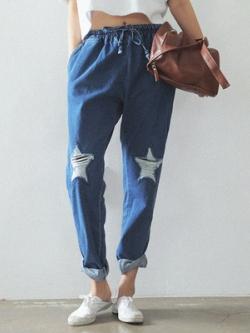 กางเกงยีนส์ขายาวเกาหลี สีน้ำเงิน แต่งรูปดาว แนวสาวเซอร์