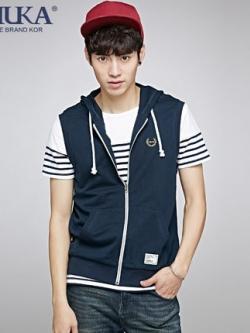 เสื้อแจ็กเก็ตแขนกุดเกาหลี มีฮู้ด แต่งกระเป๋าเสื้อด้านล่าง มี7สี