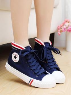 รองเท้าผ้าใบสไตล์เกาหลี แต่งขอบบน-ล่าง มีเชือกผูก มี4สี
