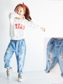 กางเกงยีนส์เด็กขายาวเกาหลี สีฟ้า ขาดๆรุ่ยๆแนวเซอร์
