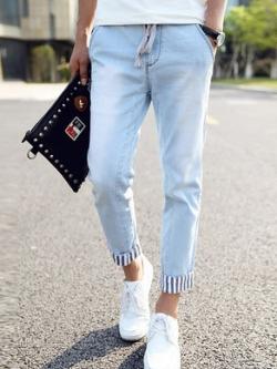 กางเกงยีนส์ขายาวเกาหลี สีฟ้าอ่อน แต่งพับปลายขาลายเส้นตรง ดีไซส์เชือกผูก