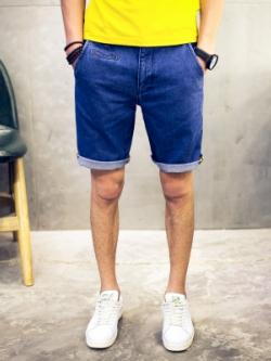 กางเกงยีนส์ขาสั้นญี่ปุ่น แต่งพับปลายขา ดีไซน์โมเดิร์น มี2สี