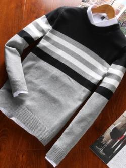 เสื้อแฟชั่นแขนยาวเกาหลี แนวสเวตเตอร์ แต่งแถบเส้นคาด มี4สี