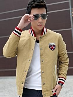 เสื้อแจ็กเก็ตแขนยาวเกาหลี แต่งขอบ แนวเบสบอล มี2สี
