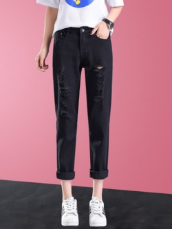 กางเกงยีนส์ขายาวเกาหลี แต่งรอยขาดเซอร์ๆ ทรงตรง มี2สี