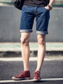 กางเกงยีนส์ขาสั้นเกาหลี แต่งพับขอบ ดีไซส์เรียบสวย มี2สี