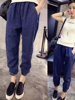 กางเกงยีนส์ขายาวเกาหลี สีน้ำเงินเข้ม ทรงฮาเร็ม จั้มปลายขา