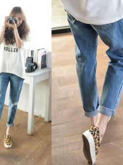 กางเกงยีนส์ขายาวเกาหลี สีน้ำเงิน แนวเซอร์ๆ รุ่ยๆ