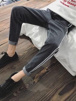 กางเกงขายาวเกาหลี แต่งแถบเส้นด้านข้าง มี3สี