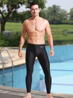 กางเกงว่ายน้ำชายเกาหลี ขายาว สีดำ แต่งลายคลื่นลูกศร