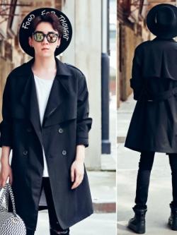 เสื้อโค้ทสูทแขนยาวเกาหลี สีดำ แต่งคอปกเสื้อ กระดุมคู่
