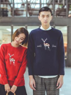 เสื้อคู่รักเกาหลี เสื้อแขนยาวแนวสเวตเตอร์ พิมพ์ลายกวาง มี2สี