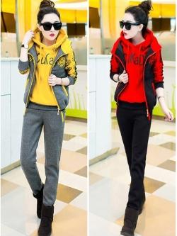 Pre Order ชุดวอร์มเกาหลี เซ็ต 3 ชิ้น เสื้อแจ็คเก็ตมีฮู้ด+เสื้อกั๊ก+กางเกงขายาว มี5สี